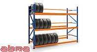 Стеллаж шинный для склада/магазина/гаража SN-Ш-2 3500х1230х900, окрашенный, 4 яруса, до 350 кг/ярус