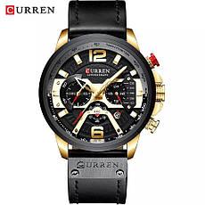 Чоловічі стильні водонепроникні годинники CURREN 8329 Silver Black, фото 3
