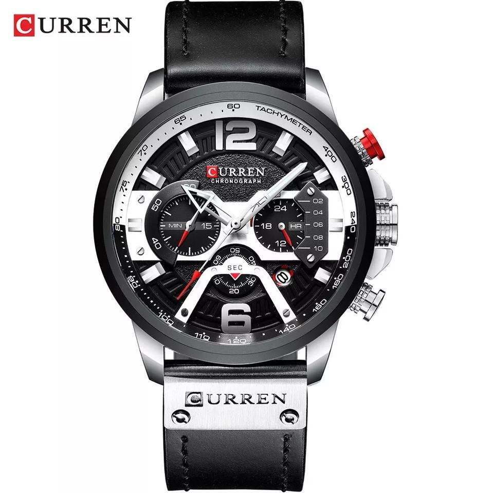 Чоловічі стильні водонепроникні годинники CURREN 8329 Silver Black