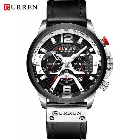 Чоловічі стильні водонепроникні годинники CURREN 8329 Silver Black, фото 2