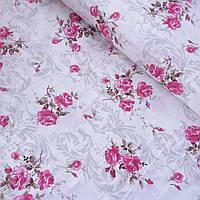 Бязь з трояндами і сірим вензелем на білому тлі, ширина 220 см, фото 1