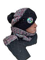 Комплект FONEM 3067  (шапка, шарф-хомут  и митенки) черный