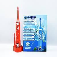 Детская электрическая зубная щетка Sonic Electric 603 звуковая многофункциональная водостойкая оранжевая