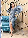 Платье асимметричное из люрекса с верхом на запах и длинным рукавом 4py377, фото 3