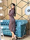 Платье асимметричное из люрекса с верхом на запах и длинным рукавом 4py377, фото 4