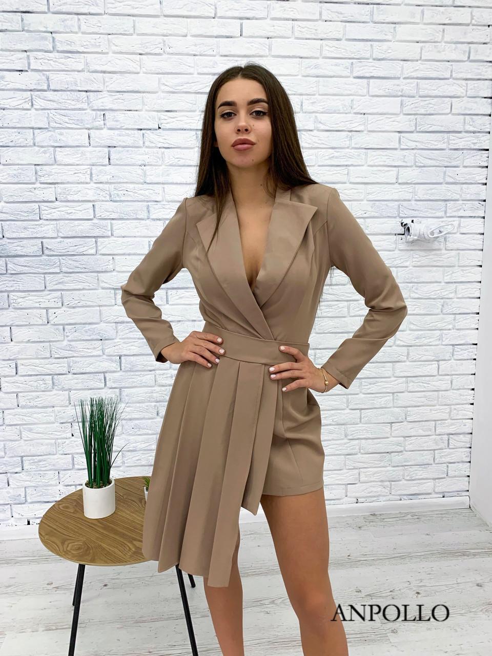 Асимметричное платье с плиссе и пиджачным верхом на запах 17py385