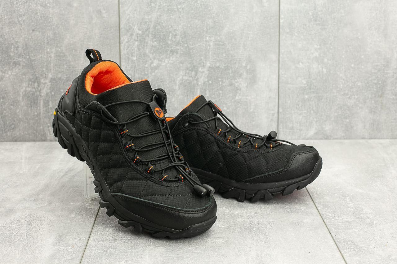 Кроссовки мужские Ditof A 741 -4 черные-оранжевые (текстиль, весна/осень)