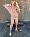 Вязаный женский брючный костюм со свободной узорной кофтой 63ks338, фото 3