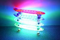 Пенни борд 850 прозрачный с LED подсветкой, светящиеся колеса