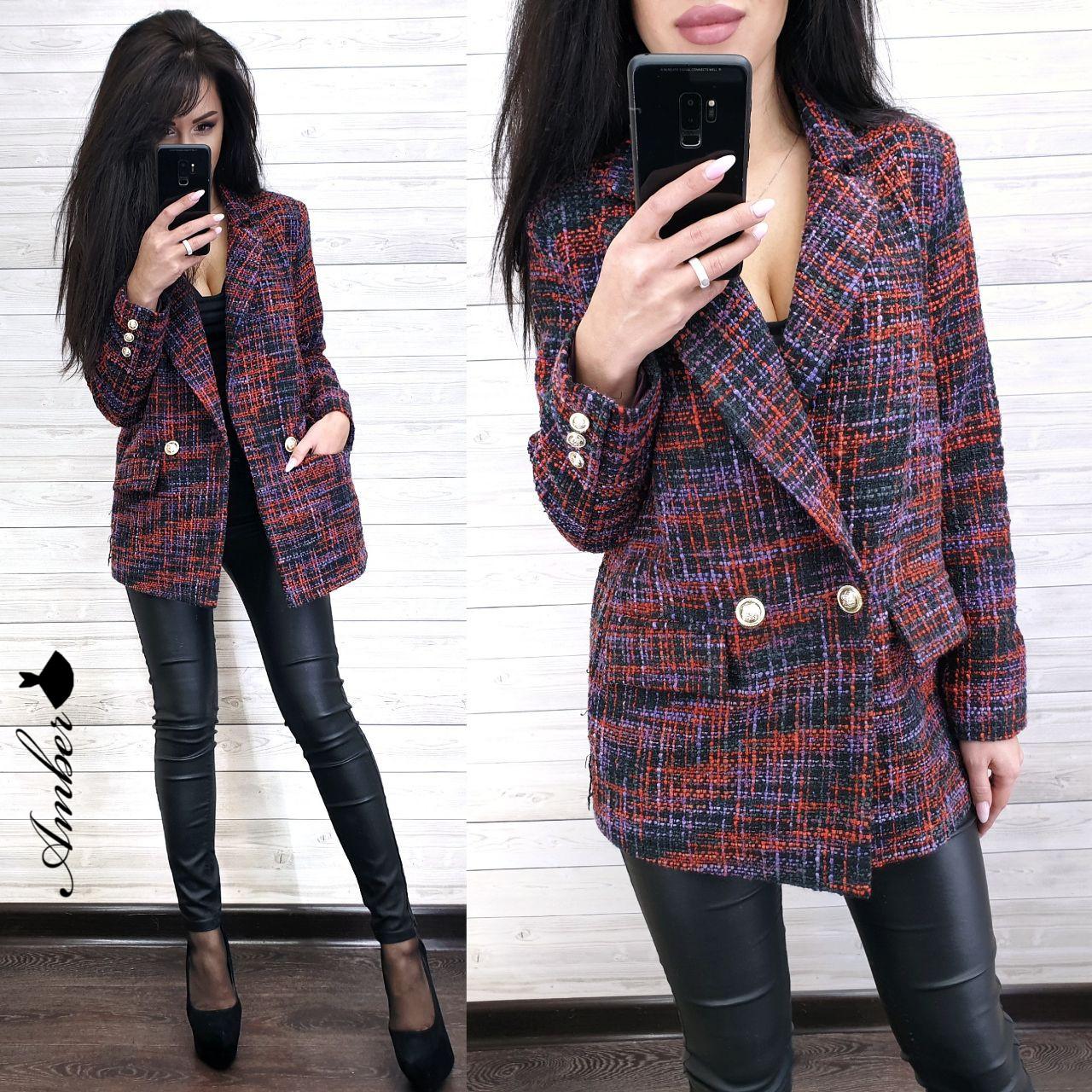 Женский твидовый пиджак оверсайз удлиненный 8pk242