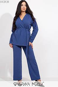 Брючный женский костюм в больших размерах с брюками клеш и верхом на запах 1ba367