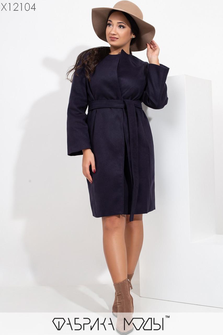 Кашемировое женское Пальто в больших размерах на одну пуговицу и с поясом 1ba372