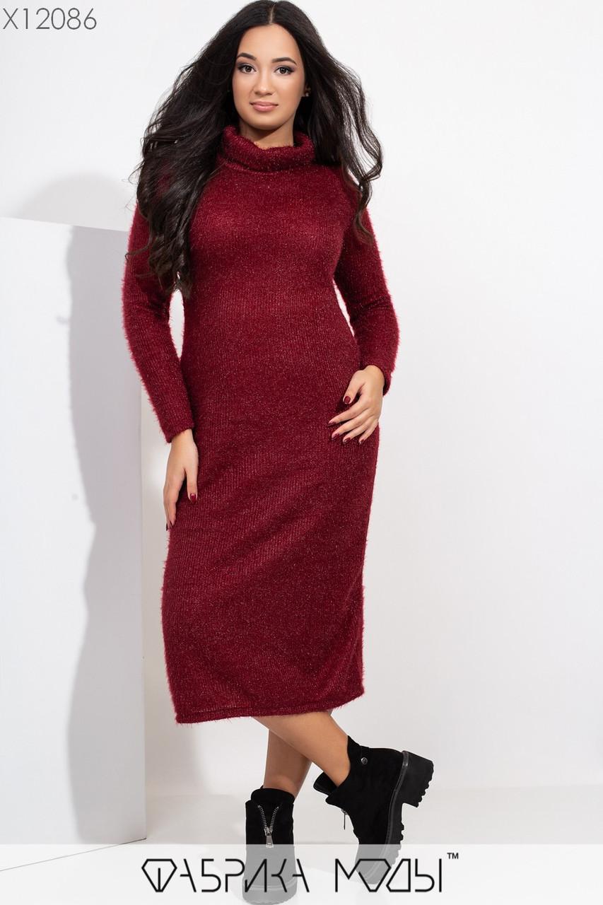 Платье в больших размерах из вязки травка длиной миди 1ba375