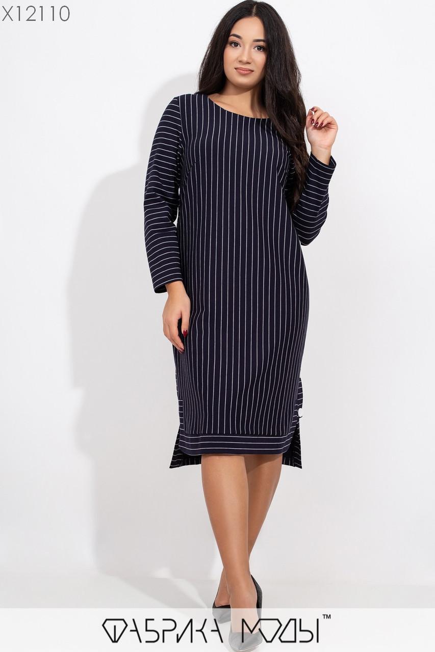 Прямое полосатое платье в больших размерах с длинным рукавом 1ba378
