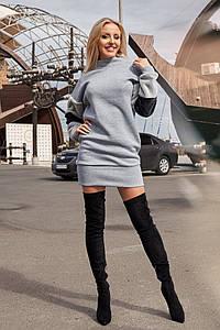 Платье - туника трехнитка с меховыми рукавами