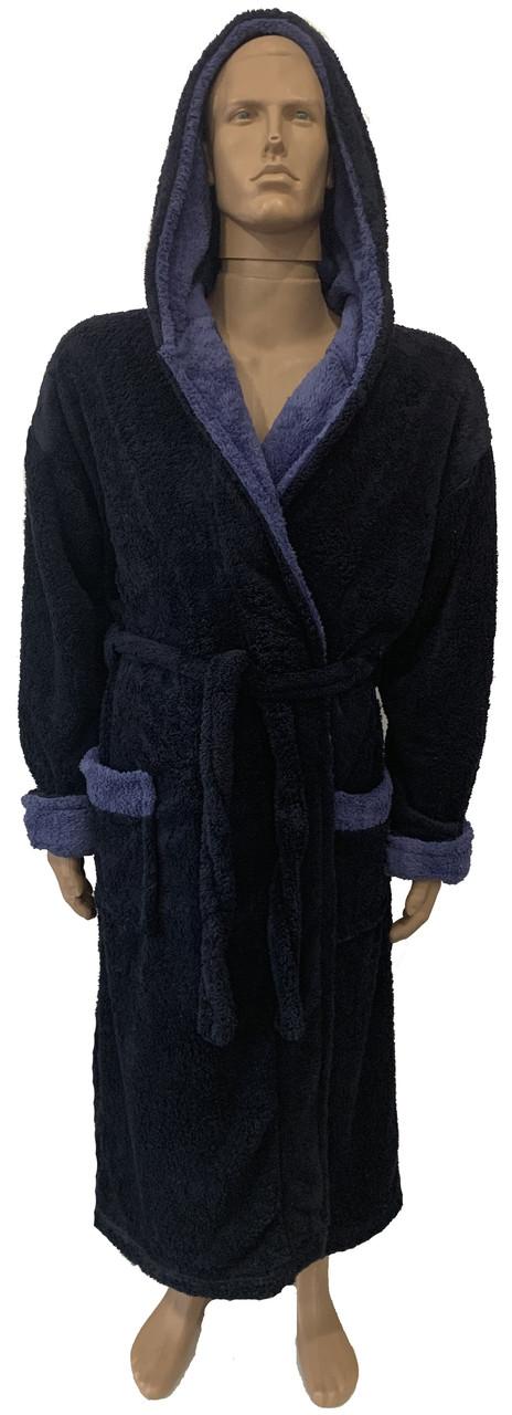Халат мужской банный т.синий-голубой (XL,3XL)