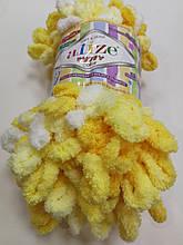 Пряжа Пуффи Колор Ализе Alize, цвет 5921 бело\желтый