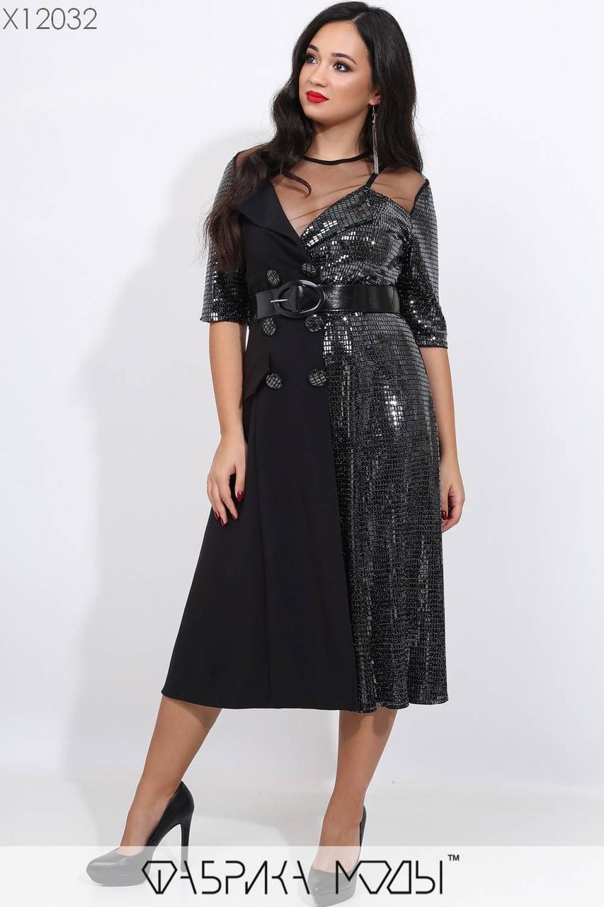Платье большого размера с раклешенной юбкой и вставками сетки 1ba392
