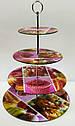 Кольорова стійка підставка фуршетна для тістечок капкейків чотириярусна Ø 15, 20, 25, 30 см, фото 3