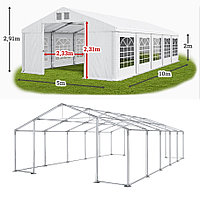 Шатер 5х10 метров с мощным каркасом ПВХ 560 г/метр под склад, гараж, палатка, ангар, намет, павильон садовый