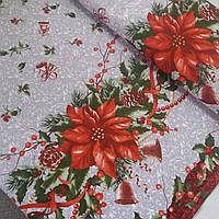 Ткань рогожка с рождественскими звездами и вензельками на сером, ширина 150 см, фото 1