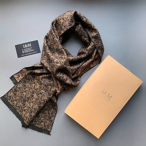 Шарф I&M Craft чоловічий коричнево-золотий з принтом (090308), фото 2