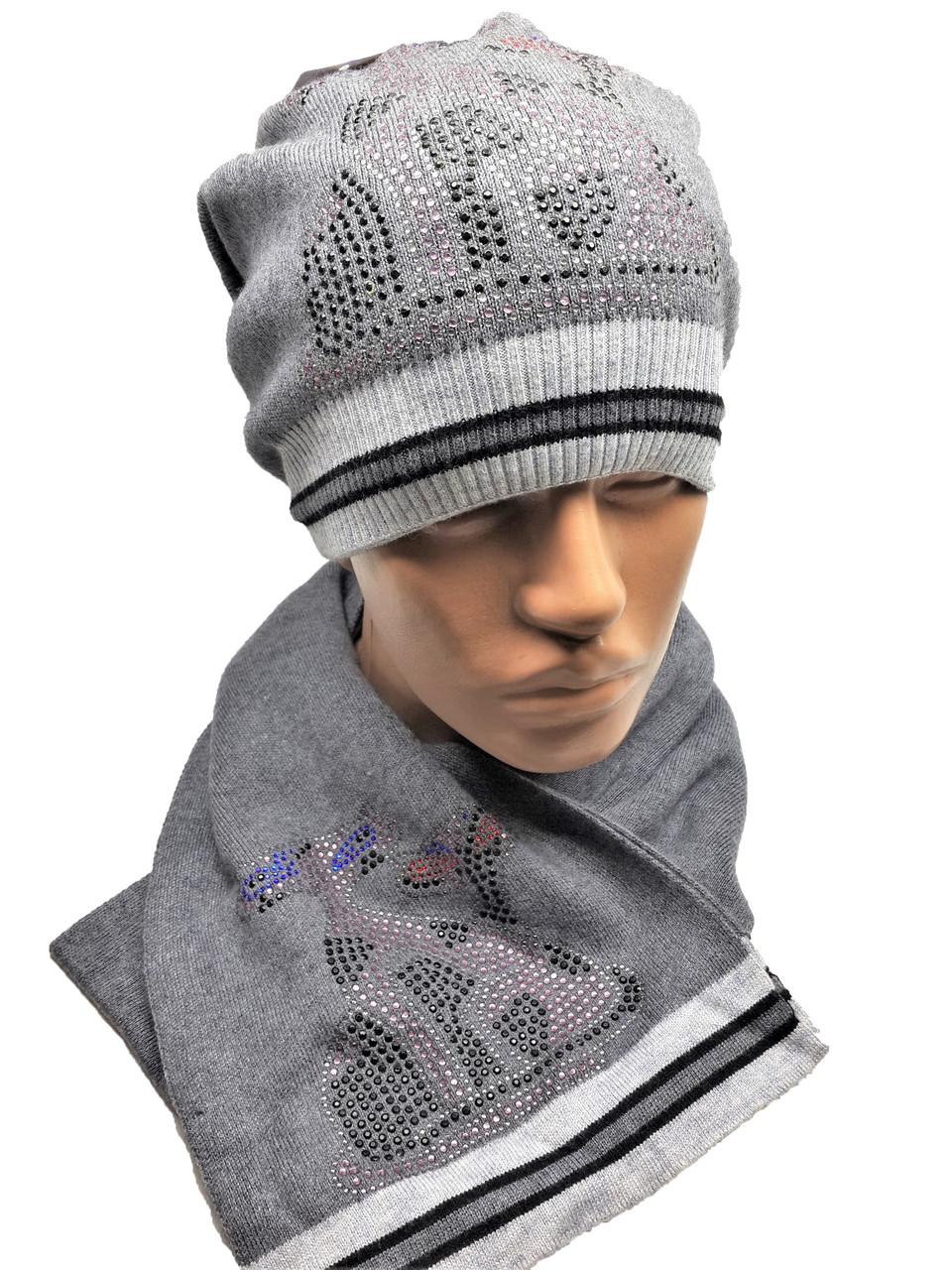 Теплый комплект с шарфом Кошки серый