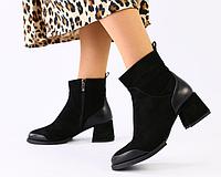 Ботинки женские черные на удобном каблуке