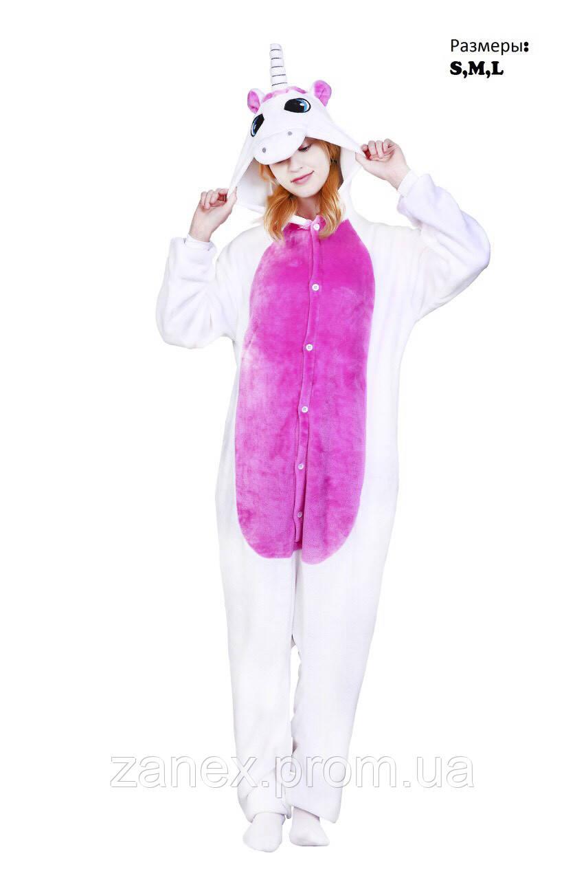 Пижама Кигуруми Белый Единорог с розовым передом взрослая