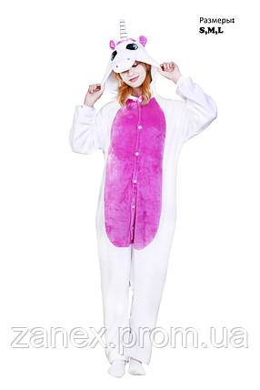 Пижама Кигуруми Белый Единорог с розовым передом взрослая, фото 2