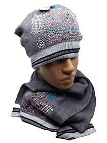 Теплый комплект с шарфом Слоники серый