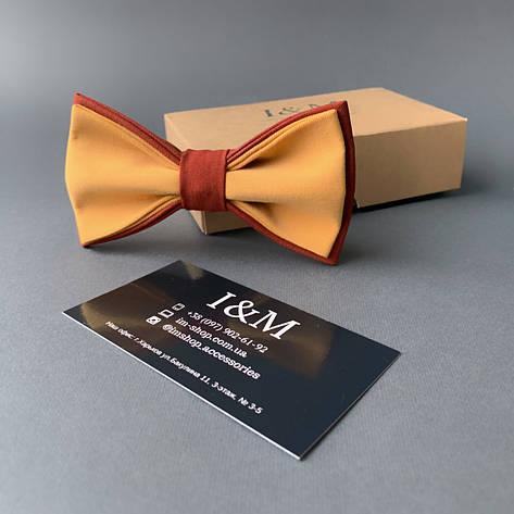 Краватка-метелик I&M Craft двоколірний пісочний з теракотовим (010636), фото 2