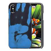 Термо чехол на Iphone X / XS Black (blue)