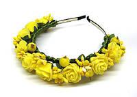 Обруч для длинных волос Розы желтые