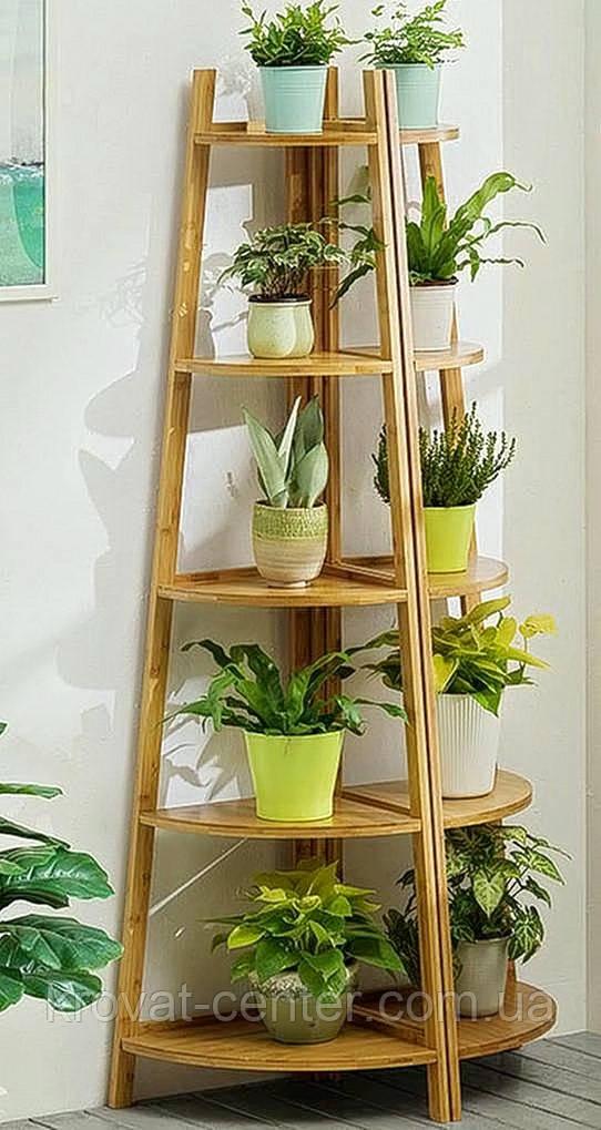 """Підлогова підставка для квітів з масиву натурального дерева вільха """"Робін Люкс"""""""