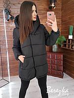 Женская куртка зимняя зефирка на кнопках с капюшоном и карманами 66ki203Q