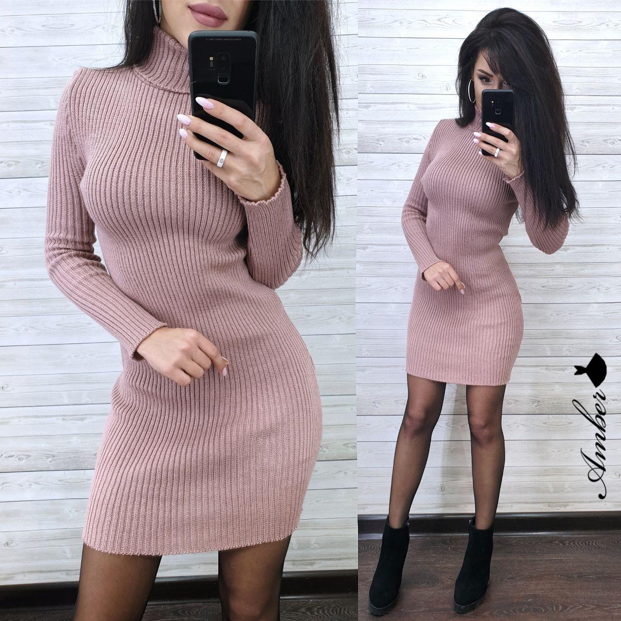 Платье - гольф из машинной вязки в рубчик длиной выше колена 8ty379