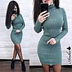 Платье - гольф из машинной вязки в рубчик длиной выше колена 8ty379, фото 2