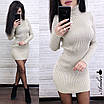Платье - гольф из машинной вязки в рубчик длиной выше колена 8ty379, фото 3