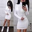 Платье - гольф из машинной вязки в рубчик длиной выше колена 8ty379, фото 4