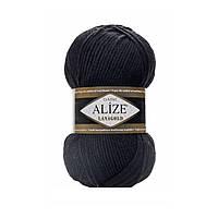 Пряжа для ручного вязания Alize LANAGOLD (Ализе ланаголд) -60 черный