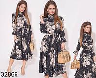 Цветочное женское платье миди пояс на резинке 42-46