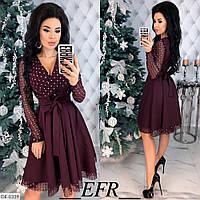 Вечернее платье с длинным рукавом из сетки, размеры S-M, L-XL, бордо, черный, черный на беж-основе, красный