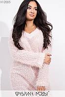 Платье свободное из вязки травка с длинным рукавом и в больших размерах 1uk384