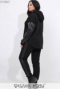 Женский черный спортивный костюм из трехнитки в больших размерах с кожаными вставками 1uk387