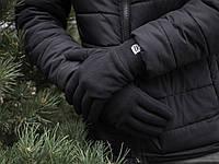 Перчатки из флиса мужские черные двойные