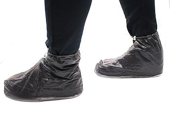 Бахилы для обуви от дождя снега грязи 2Life L многоразовые, с молнией и шнурком-утяжкой Black (n-401)