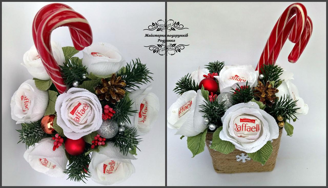 Подарунковий новорічний букетик з цукероу