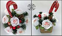 Подарунковий новорічний солодкий букет з цукерок. Новорічний подарунок на Різдво, Новий рік, Миколая