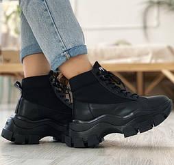 Высокие женские ботинки Prada Milano Block Triple Black на платформе кожаные 36-44рр. Живое фото. Люкс реплика